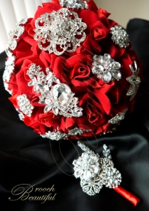 Red Bling Velvet Brooch Bouquet 3