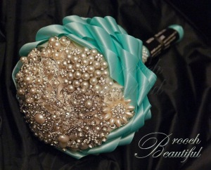 Small Brooch Bouquets 4 – 6 inches across. Perfect for a bridesmaid or an understated bride. Prices from $200