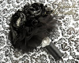 Black Bling Peony Bouquet 9