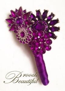 purple brooch boutonniere