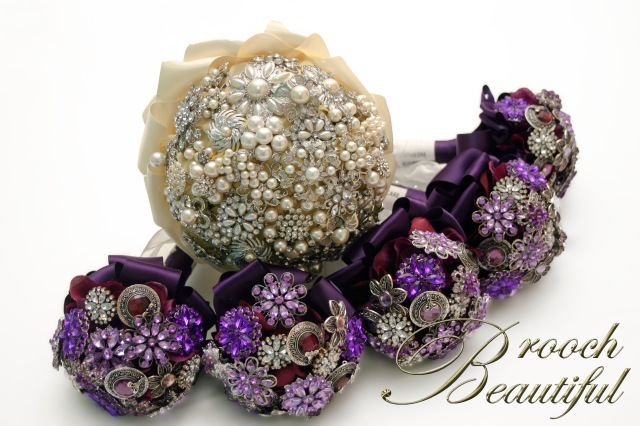 purple ivory bride bridesmaid brooch bouquet