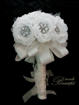 Winter white handmade peony & brooch bridal bouquet. Avant garde ribbon & tulle. artificial flower, silk, fabric, brooch beautiful