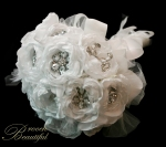 Winter white handmade peony & brooch bridal bouquet. Avant garde ribbon & tulle #broochbeautiful flur de lis white ivory bride rose peonies