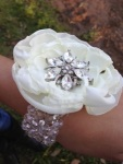 #broochbeautiful white ivory glam brooch wrist corsage - prom, sweet 16, wedding, bling, quinceanera, baby shower, bridal shower
