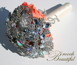 Coral Bling Brooch Bouquet Web6