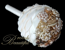 Cascading Gold Pearl Brooch Bouquet 10