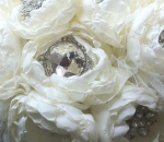hand made handmade fabric silk flower peony ivory brooch broach