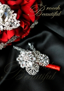Red Bling Velvet Brooch Bouquet boutonniere 4