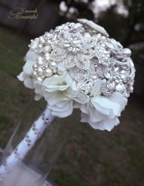 Silver Star Pearl Brooch Bouquet 1