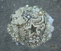 Silver Star Pearl Brooch Bouquet 2
