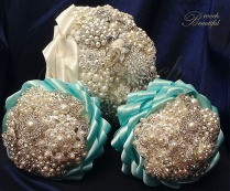 Tiffany Blue Turquoise Brooch Bouquet Cascading Ribbon 2
