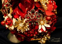 Vintage Red Gold Brooch Bouquet 4