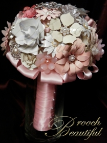pink ivory white silver enamel broach shabby chic rustic classic antique
