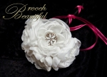 Hot pink, fuchsia, pink, black, satin, ribbon, bridesmaid, moh, flower girl, peony, white, peonies, brooch, bling