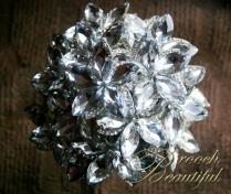 platinum wedding, platinum bouquet #BroochBeautiful, #wedding #broochbouquet #platinumwedding #unique #bling #bride #overthetop #crystalbouquet