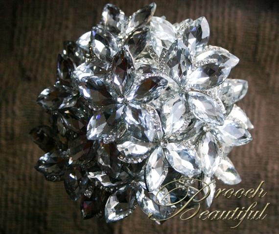 ultra platinum silver bling brooch bouquet web11