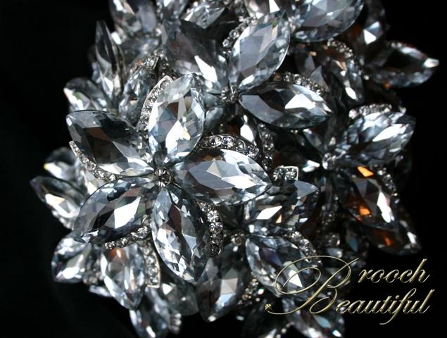 ultra platinum silver bling brooch bouquet web4
