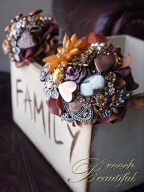 Orange Brown Brooch Bouquet