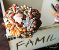 Vintage Orange Brown Brooch Bouquet 1