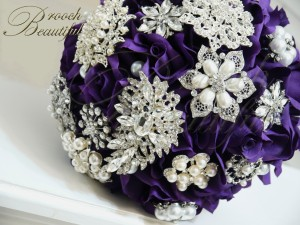 Purple Velvet Rose Brooch Bouquet 5