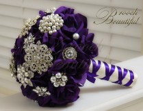Purple Velvet Rose Brooch Bouquet 8