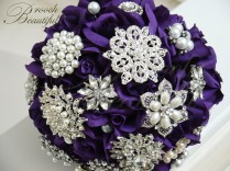 Purple Velvet Rose Brooch Bouquet2