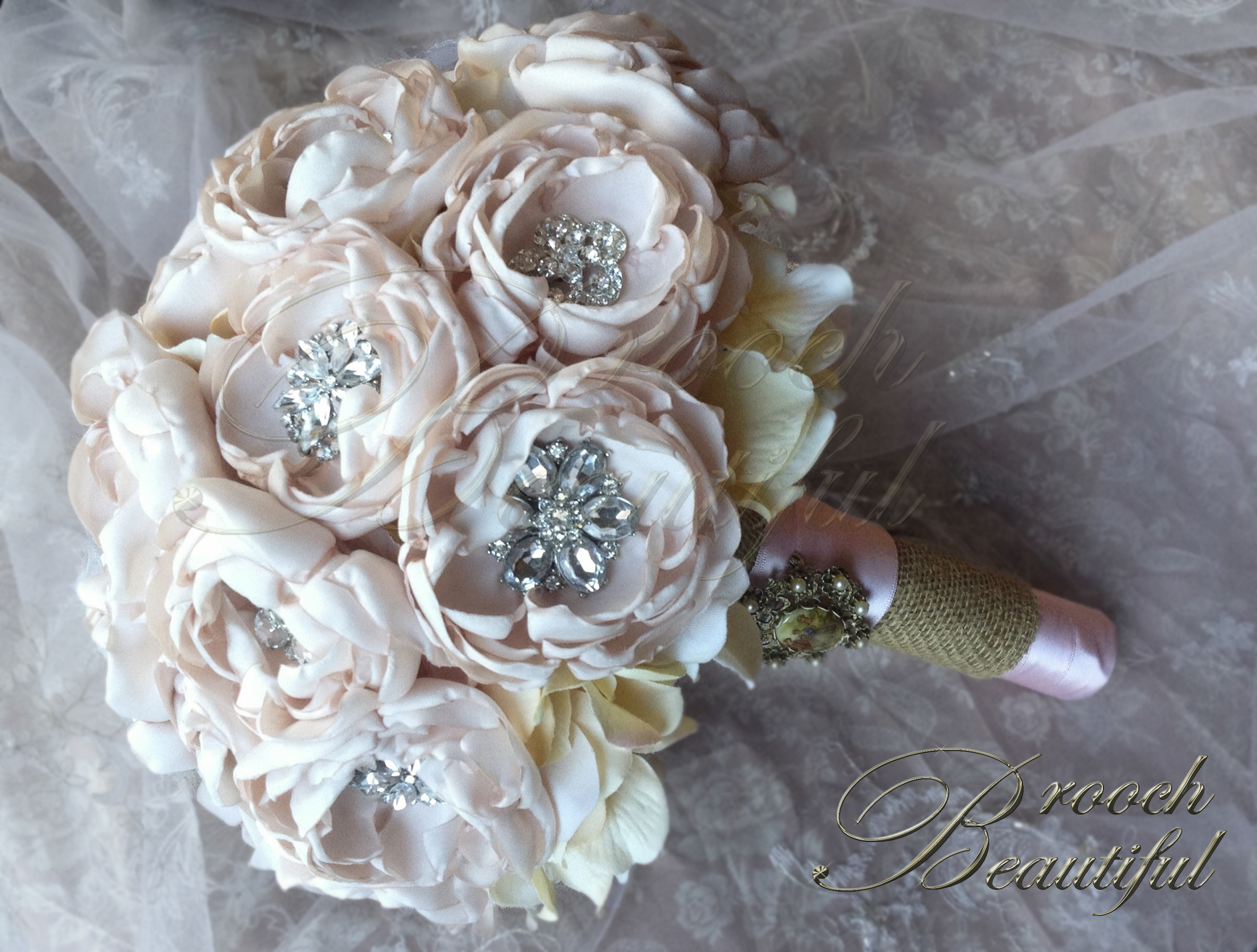 Blush Peony Fabric Bouquet 8s Broochbeautiful